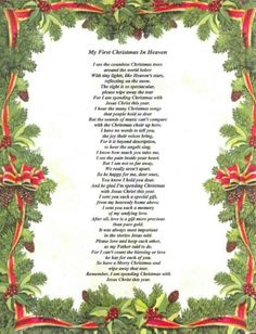 First Christmas in Heaven Poem Printable | My first ...