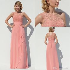 f1d15b261f Price tracker and history of Bridesmaid Dresses 2016 Dusky Pink Long For  Weddings Chiffon Floor Length One Shoulder Lace Appliques Plus Size