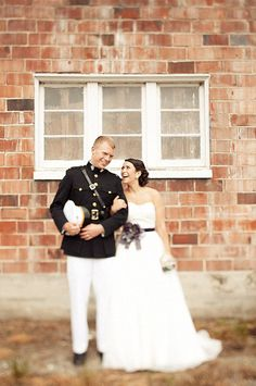Can't wait until this is me and my guy! :-)  Love seeing a USMC Officers uniform on a groom