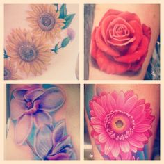 floral tattoos. #gorgeous!