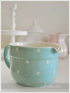 ceramiczna miarka miska kuchenna w groszki błękitna / pastel polka dot ceramic bowl