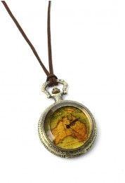 Map Print Watch Pendant Necklace