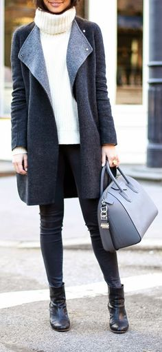 Fall Layers   Grey Blanket Coat , White Turtle Neck Sweater and Skinnies