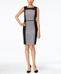 Nine West's sleek essential sheath dress is a perfect example of poise and professionalism in a chic, colorblocked design you can wear so many ways. | Polyester/viscose/elastane; lining: polyester | D