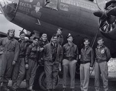 "Delta Rebel (2) - 91st Bomb Group (H).   Left to Right:  B. Z. Byrd, Radio Operator; Randy Peterson, Left Waist Gunner; Steve Perri, Ball Turret Gunner; Harry Kulchesky, Right Waist Gunner; Clark Gable; Chuck Bennett, Co-pilot; George Birdsong, Pilot; Robert Abb, Bombardier; Robert Card, Tail Gunner    The actor Clark Gable is included in the Delta Rebel crew as he was in the process of shooting the documentary film ""Combat America."""