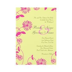 Pink Field Flowers II Buttercup Invitation  Flowers Collection  Stunning pink field flowers on an soft buttercup yellow background. A chic and whimsical motif perfect for weddings, anniversaries and other occasions. You can customize it to whatever your needs may be for your event. RSVP cards and other products are available in my shop. Other colors schemes are available upon request.