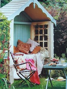 Outdoor Reading Nook. Would love to have a backyard where this could go.