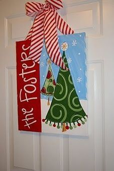 Cute Christmas tree canvas paint idea for wall decor. Canvas painting. Wall art. Merry Christmas. Winter. Red, green, and white. Snowflakes. Personalize.