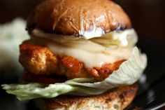 Buffalo Wing Turkey Burgers Made these for family dinner tonight, everybody liked them. I added grated onion to the turkey meat, kept them moist. Turkey Recipes, Vegetarian Recipes, Yummy Recipes, Buffalo Turkey Burgers, Beef Burgers, Buffalo Wings, Tasty Dishes, I Love Food, Food Inspiration