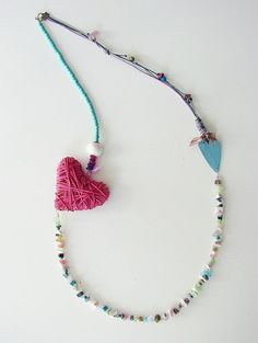 necklace - Xanthippe Tsalimi Heart Jewelry, Jewelry Art, Jewelry Necklaces, Jewelry Design, Beaded Necklace, Diy Crafts Jewelry, Handmade Jewelry, Julie Garland, Baubles And Beads