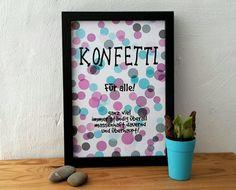 Printable poster Konfetti poster instant download typo