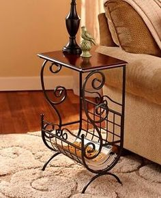 SCROLLED METAL ART WOOD ACCENT END COFFEE TABLE MAGAZINE SHELF RACK STORAGE NEW