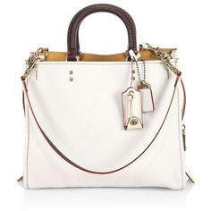 COACH 1941 Rogue Leather Tote ($795) ❤ liked on Polyvore featuring bags, handbags, tote bags, leather tote bags, leather purses, leather totes, white tote bag and white leather tote bag