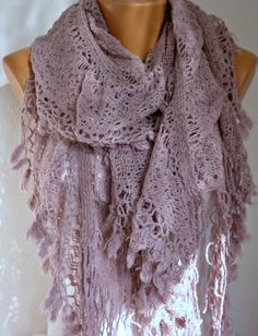 ON SALE - Fabric Knitted Lace Scarf  -  Shawl Scarf  Cowl Scarf -  Long Scarf - Ruffle Scarf-  Pale Pink  -fatwoman etsy $27