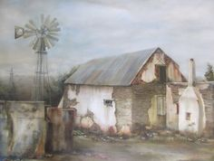 Perceptions by Janet Dirksen Pictures To Paint, Art Pictures, Landscape Paintings, Landscapes, South African Artists, Country Farmhouse, Watercolor Art, Farm Houses, Fine Art