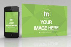 iPhone and Image Banner Mockup - Mediamodifier - Online mockup generator