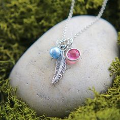 Feather necklace Birthstone Feather Necklace by JewelleryJKW