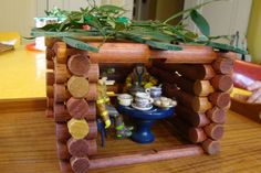 Play Sukkah made from Lincoln Logs!