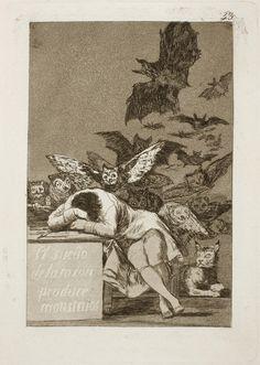 """Francisco de Goya. """"El Sueño de la Razón Produce Monstruos"""" 1797 – 1799, Aguafuerte; Aguatinta Soporte Papel verjurado, ahuesado Dimensión Papel: 306 X 201 mm. Huella de la plancha: 213 X 151 mm."""