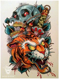 New Tattoo Designs New School Skulls Ideas Skull Tattoos, Body Art Tattoos, New Tattoos, Cool Tattoos, Tatoos, Tiger Tattoo Design, New Tattoo Designs, Tattoo Sketches, Tattoo Drawings