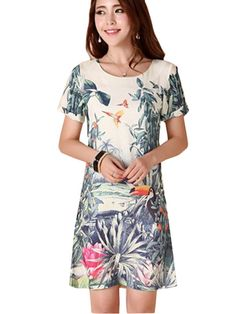 e4cbdd070f Trendy Floral Print O-Neck Tight Waist Short Sleeve Dress