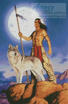 Free Native American Cross Stitch | Artecy Cross Stitch. Native American and Wolf Cross Stitch Pattern to ...