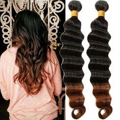High Quality Human Hair Extension ombre color Brazilian deep wave Hair 1B/30# #WIGISShair #deepwave