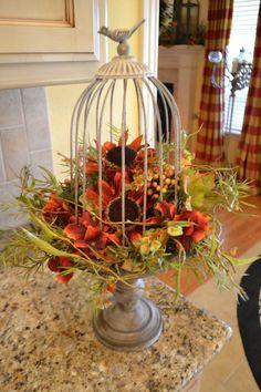 Birdcage Fall Arrangement by kristenscreations on Etsy