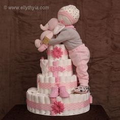 Pink Elephant and Child Woman Diaper Cake. See even more by visiting the photo link