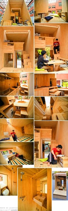 the stairs, pull-out units, built-ins and bathroom setup intrigue me, but where are the door and windows? (perhaps they're meant to be sandwiched together for student housing) ~ 75 sq ft (plus loft) dwelling by chinese architecture student . via http://techeblog.com/index.php/tech-gadget/college-student-builds-amazing-75-square-foot-mini-home-with-kitchen-and-bathroom