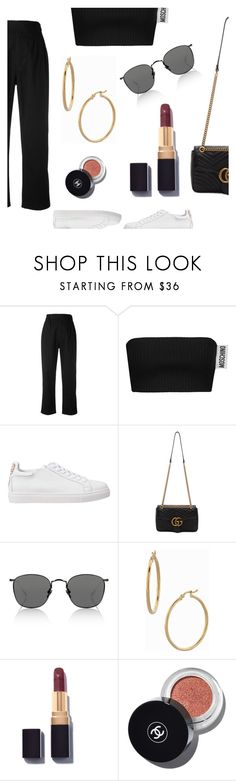 """""""You are my 2 AM thoughts."""" by lucieednie ❤ liked on Polyvore featuring Margaret Howell, Moschino, Sophia Webster, Gucci, Bony Levy and Chanel"""