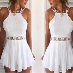 White Hollow Out Lace Playsuit