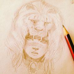 Another design on the way…#tattoodesign #headress #girls #gborntattoo #gimiksborn #lion #lioness #lionheadress