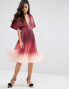 ASOS | ASOS Ombre Pleated Kaftan Midi Dress at ASOS