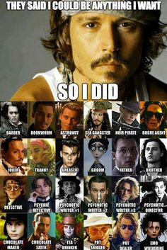 Funny pictures about Johnny Depp and his many faces. Oh, and cool pics about Johnny Depp and his many faces. Also, Johnny Depp and his many faces photos. Memes Humor, Funny Memes, Funny Quotes, That's Hilarious, Nerd Humor, Creepy Quotes, Funny Gifs, Funny Facts, Funny Celebrity Pics