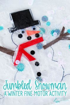 Challenge your toddler or preschoolers fine motor skills with this winter-themed sensory bag. You can find all the supplies you need to make your own Jumbled Snowman at the Dollar Store, and put it together in less than 5 minutes. Your kids will be entertained for days with this simple build your own snowman game. | Games for Kids | Fine Motor Activity | Winter Activities for Kids | Toddler | Preschool | Early Childhood Development | Sensory Play | Sensory Bags