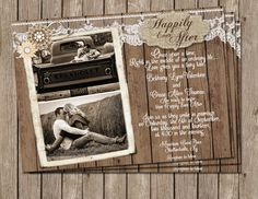 Burlap and Lace Invitation, Rustic, Wood, Photo Invitation, Happily ever after, Photo, Digital File Personalized, 5x7, on Etsy, $15.00