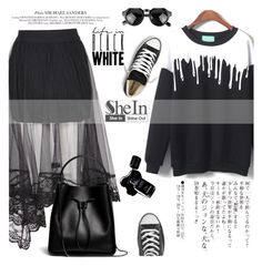 """""""Life in Black White"""" by einn-enna ❤ liked on Polyvore featuring Converse, Sanders, 3.1 Phillip Lim, Chanel and Sheinside"""