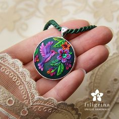 ENCHANTED GARDEN pendant. Bird and flowers, purple and green, round bezel 32 mm, handmade, polymer clay. Statement necklace, gift for her