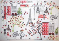 Paris Scene in Pink and Red 4pc Placemat Set by ColdStreamCrafts