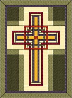 The Christian Cross Quilt was built on the Carpenters Corner block in warm autumn colors but it would be equally beautiful in many different color