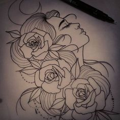 For tomorrow #tattoo #design #neotraditional #ladyface #roses #art #drawing #uktattoo #plymouth #tattooartist