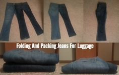 Folding and packing jeans for luggage                              …