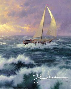 Perseverance (2000) is another epic painting in Thomas Kinkade's 'lighthouse & seascape' genre. It tells the story of a turbulent and timely message .