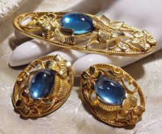 Vintage Blue Glass Gold Tone Brooch Earring Set by TheEclecticDiva, $28.00