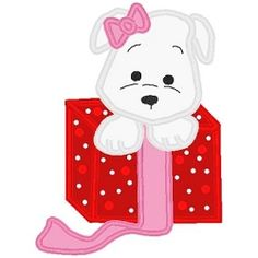 Puppy in a Box Applique - 3 Sizes! | Tags | Machine Embroidery Designs | SWAKembroidery.com Band to Bow