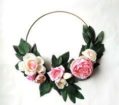 Floral Hoop Wreath, Floral Hoop, Greenery Wedding, Bridal Bouquets, Modern Wedding, Flower Girl Bouquets, Flower Hoop, Wedding Decorations by FarahLynnDesign on Etsy