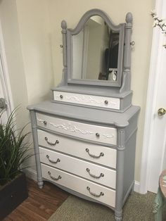 This beautiful dresser is painted in Little Lamb from the Tones for Tots collection by Fusion Mineral Paint #shabbychicdressersdecor