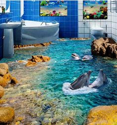 3D wall murals wallpaper floor 3D wallpaper floor for living room dolphin Custom Photo self-adhesive 3D floor