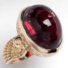 Vintage Rubellite Tourmaline Cocktail Ring w/ Etching 14K Gold